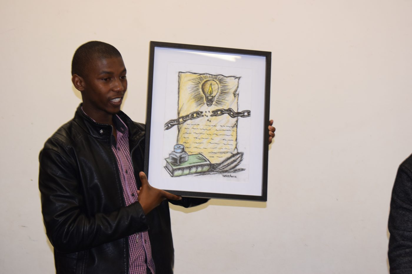 Showcasing painting for the 3rd prize winner